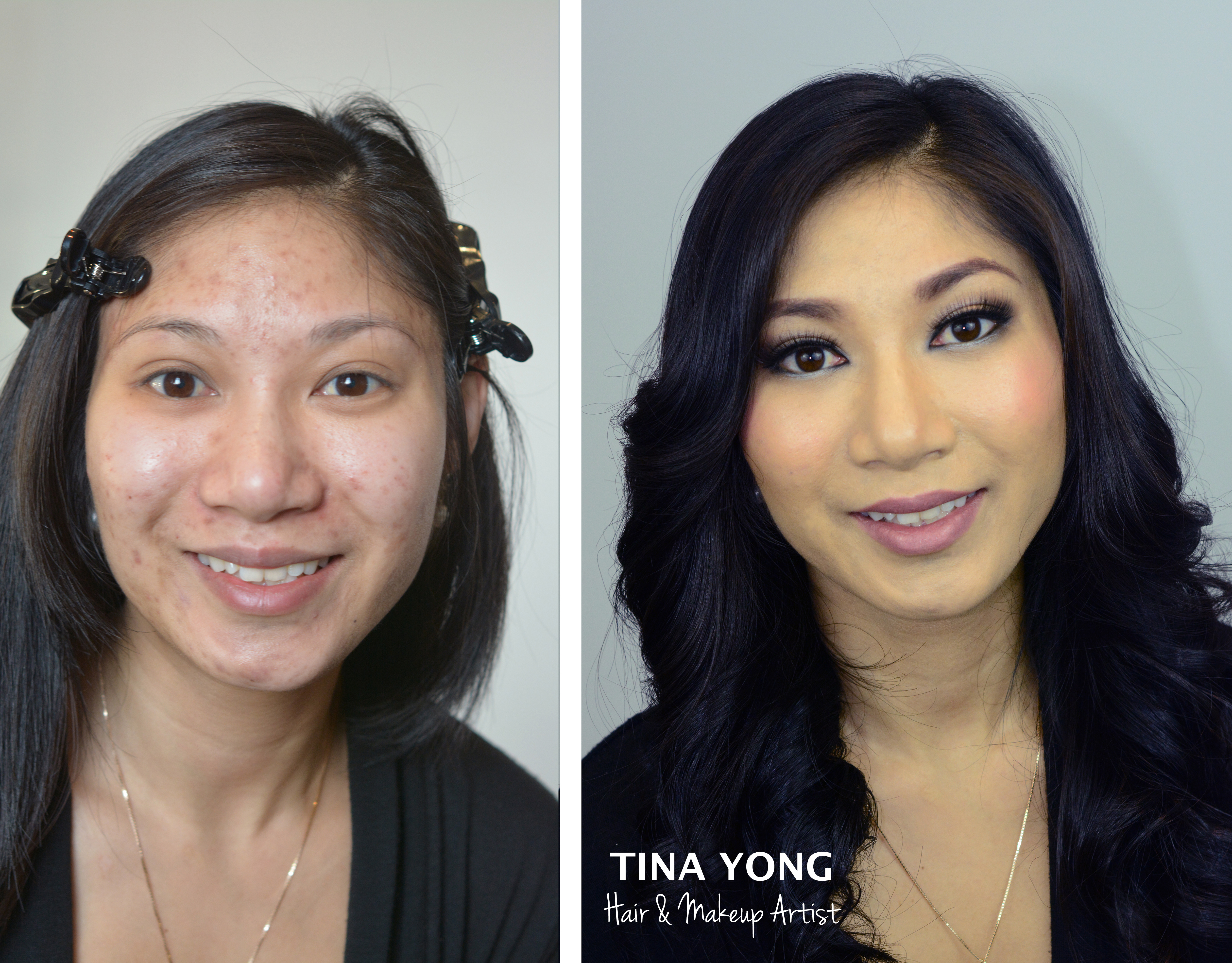 Asian girl eye makeup before and after